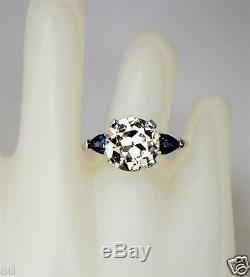Antique Estate Jewelry Art Deco Era Platinum Ring w 3.55CT Diamond & Sapphires