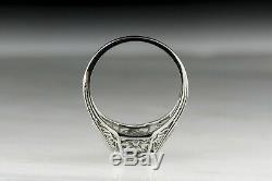 Antique European Ring 2.4 Ct Round Diamond 14K White Gold Vintage Art Deco Ring