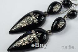 Antique European Silver Black Enamel & Seed Pearl Drop Earrings