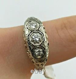 Antique Filigree Art Deco 18KW Gold Diamond Engagement Ring Sz 8.25-8.5, SIZABLE