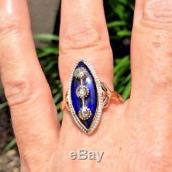 Antique Georgian 1780 CELESTIAL Blue Glass & Rose Cut Diamond 14K Navette Ring
