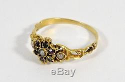 Antique Georgian 18ct Gold Emerald, Almandine Garnet & Pearl Memorial Ring
