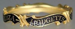 Antique Georgian 22K Gold Enamel Mourning Ring ELIZABETH HODGETTS 1759 S 8.5 Box