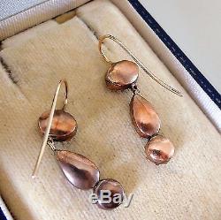 Antique Georgian Gold Garnet Drop Earrings C1800's