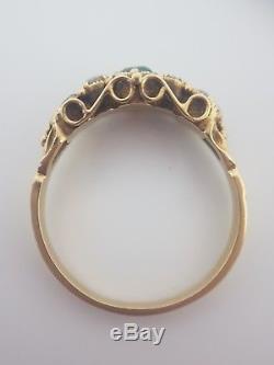 Antique Georgian Yellow Gold Closed Back Emerald Diamond Three Stone Ring Band