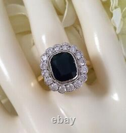 Antique Jewellery Gold Ring with Blue White Sapphires Vintage Deco Jewelry