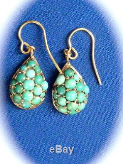 Antique Jewelry Victorian 14k yellow gold Drop Dangle Persian Turquoise earrings
