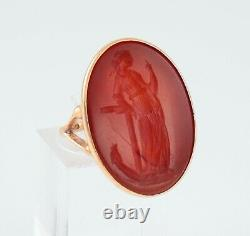 Antique Large 9Ct Gold Signet Seal Ring Carnelian Intaglio Of Hope / Anchor