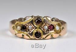 Antique Late Victorian 9ct Gold Almandine Garnet & Seed Pearl Ring (1901)
