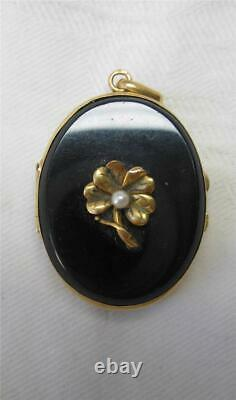 Antique Locket 14K Gold Black Onyx Belle Epoque Victorian Mourning Jewelry c1860