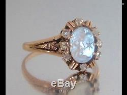 Antique Man In The Moon Moonstone 10k Ring