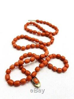 Antique Natural Red Coral Bead Necklace Genuine Knotted Victorian