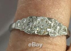 Antique Platunum Diamond Engagement Ring Step mounting
