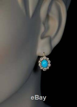 Antique Turquoise & Diamonds 2.80Ct 14k Yellow Gold Over Drop Dangle Earrings