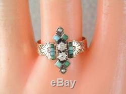 Antique Victorian 10k Rose Gold Mine Cut Diamond & Turquoise Ring Engraved Desig