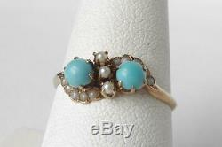 Antique Victorian 10k Rose Gold Toi et Moi Turquoise+Seed Pearl RingSz 8.5