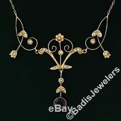 Antique Victorian 14K Gold Amethyst & Pearl Tulip Flower Dangle Collier Necklace