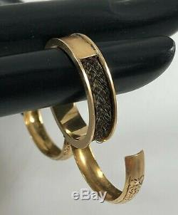 Antique Victorian 14K Yellow Gold Mourning Hair Double Hidden Opening Ring