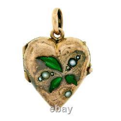 Antique Victorian 14k Gold Green Enamel Leaf & Pearl Puffed Heart Locket Pendant