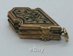 Antique Victorian 14k Yellow Gold Enamel 6 Panel Folding Locket Pendant