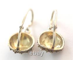 Antique Victorian 14k Yellow Gold Enamel Pierced Drop Earrings