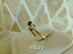 Antique Victorian 14k rose gold pear garnet seed pearl ring snake bypass 2.2g