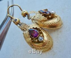 Antique Victorian 15ct 15k Yellow Garnet & Rose Cut Diamond Earrings