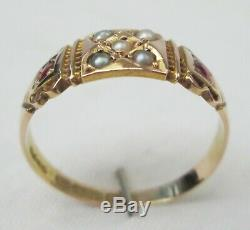 Antique Victorian 15ct Gold Ruby & Seed Pearl Gypsy Ring Size P 1902