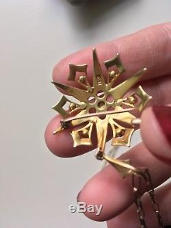 Antique Victorian 15ct gold pearl starburst snowflake star brooch pendant chain