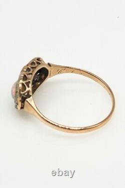 Antique Victorian 1860s 2ct Natural OPAL Alexandrite Diamond 14k Gold Ring