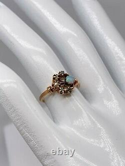 Antique Victorian 1870 MOON Natural OPAL Russian Alexandrite Pearl 14k Gold Ring