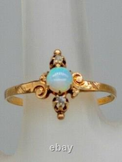 Antique Victorian 1880s 1ct Natural OPAL Mine Cut Diamond 14k Yellow Gold Ring