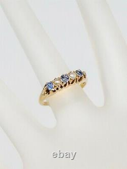 Antique Victorian 1880s Natural Ceylon Blue Sapphire Pearl 14k Yellow Gold Ring