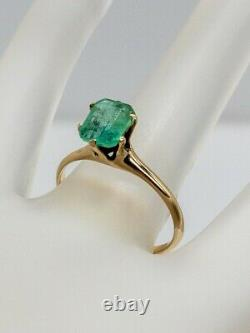 Antique Victorian 1890s $3000 1.50ct Colombian Emerald 10k Yellow Gold Ring