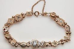 Antique Victorian 1890s Natural Garnet Opal Pearl 14k Gold Slide Charm Bracelet