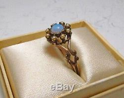 Antique Victorian 1890s Queen City QC Mfg Co NY USA 10K Gold Opal Pearl Ring S 7