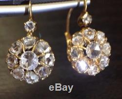 Antique Victorian 18K Gold 2.5CT Rose Cut Diamond Russian Drop Earrings