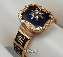 Antique Victorian 18K Gold Mine Cut Diamond Memento Mori Mourning Ring 1854 S 6