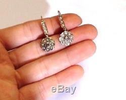 Antique Victorian 18K Yellow Gold Pearl and Diamond Flower Dangle Drop Earrings