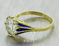 Antique Victorian 18k Yellow Gold 2.6ct Diamond Enamel Engagement Ring A1 T1