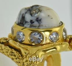 Antique Victorian 18k gold&1ct DIAMONDS Memento Mori Snakes&Skull Cameo ring