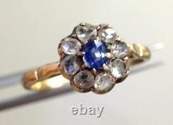 Antique Victorian 375 Gold Ceylon Sapphire Diamond Halo Ring Size 7.75 Hallmark