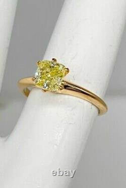 Antique Victorian $6K 1ct Natural FANCY Yellow Cushion Cut Diamond 14k Gold Ring