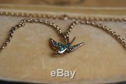Antique Victorian 9 Carat Rose Gold Turquoise & Pearl Swallow Pendant Ruby Eye