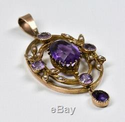 Antique Victorian 9ct Gold Amethyst & Seed Pearl Lavaliere Pendant, c1880