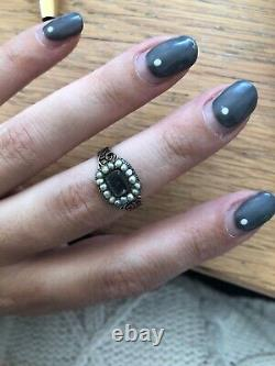 Antique Victorian Black Enamel Forget Me Not Pearl Locket Front Ring Gold Band
