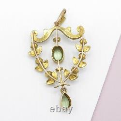 Antique Victorian Edwardian 9k Gold Peridot Seed Pearl Lavaliere Pendant