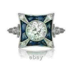 Antique Victorian Edwardian Engagement Ring 14K White Gold Over 2.21 Ct Diamond