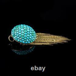 Antique Victorian Etruscan Turquoise Tassel Brooch Pendant 18ct Gold Circa 1860