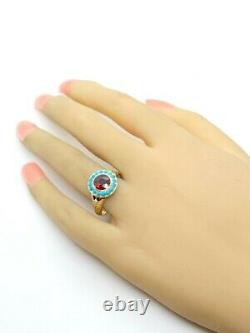 Antique Victorian Garnet Turquoise 14K Yellow Gold Halo Ring Size 8.5